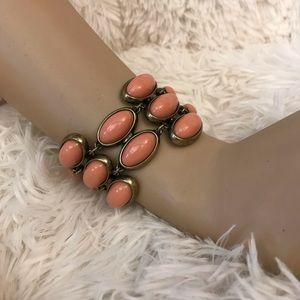 J. Crew pink-coral and gold oval bracelet